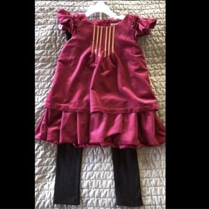 NWT Tahari Red Velour Dress With Black Leggings